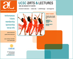 UCSC Arts & Lectures website 2005-06 season - home page