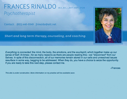 Business website - Frances Rinaldo, Psychotherapist - home page
